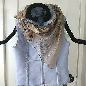 Relativity Pale Blue Faux Fur/Leather Zip-Up Vest
